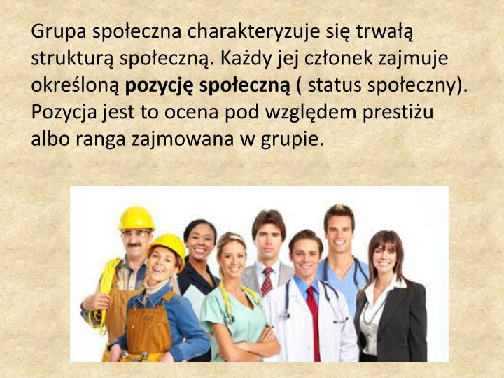 Grupa społeczna charakteryzuje się trwałą strukturą społeczną. Każdy jej członek zajmuje określoną