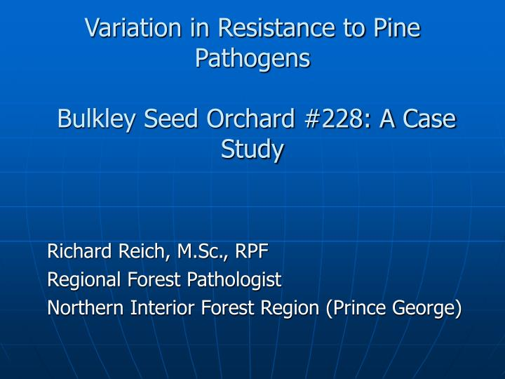 Variation in resistance to pine pathogens bulkley seed orchard 228 a case study
