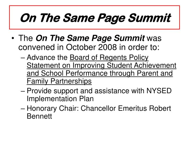 On The Same Page Summit