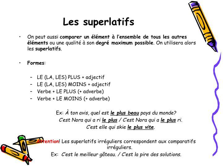 Les superlatifs