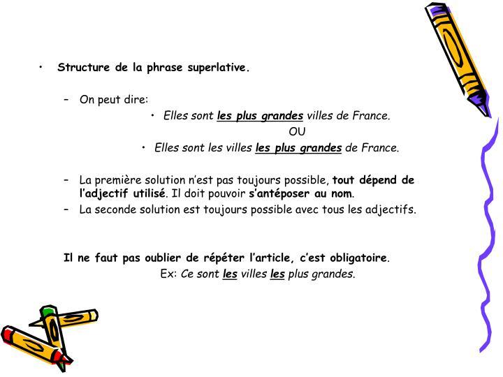 Structure de la phrase superlative.