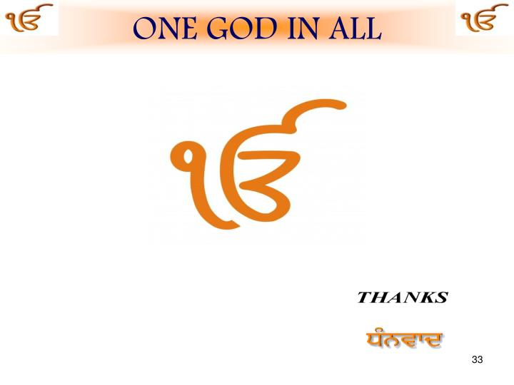 ONE GOD IN ALL