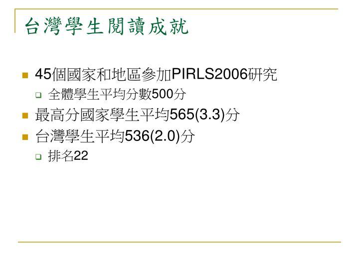 台灣學生閱讀成就