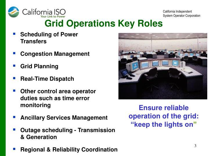 Grid Operations Key Roles