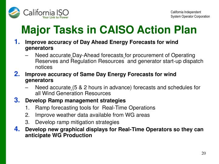 Major Tasks in CAISO Action Plan