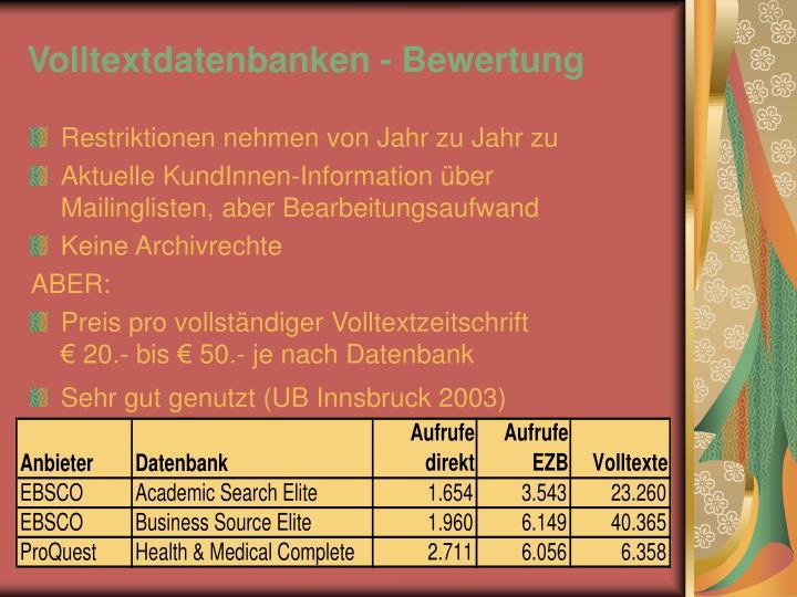 Volltextdatenbanken - Bewertung