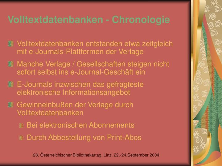 Volltextdatenbanken - Chronologie