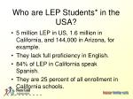 who are lep students in the usa