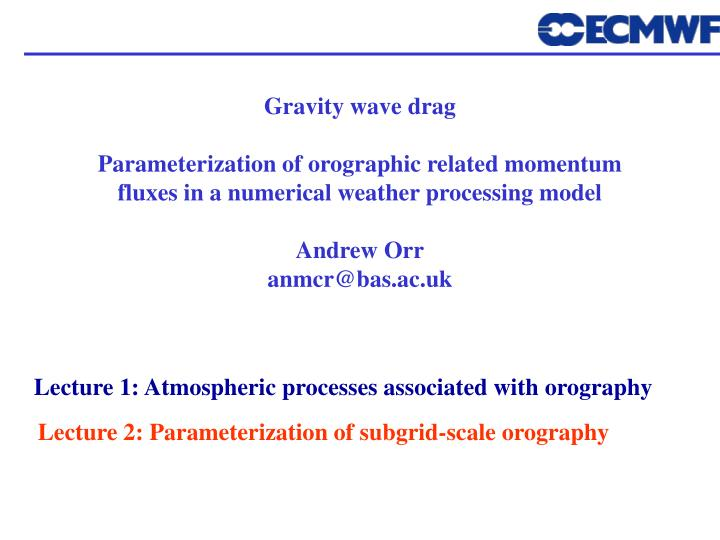 Gravity wave drag