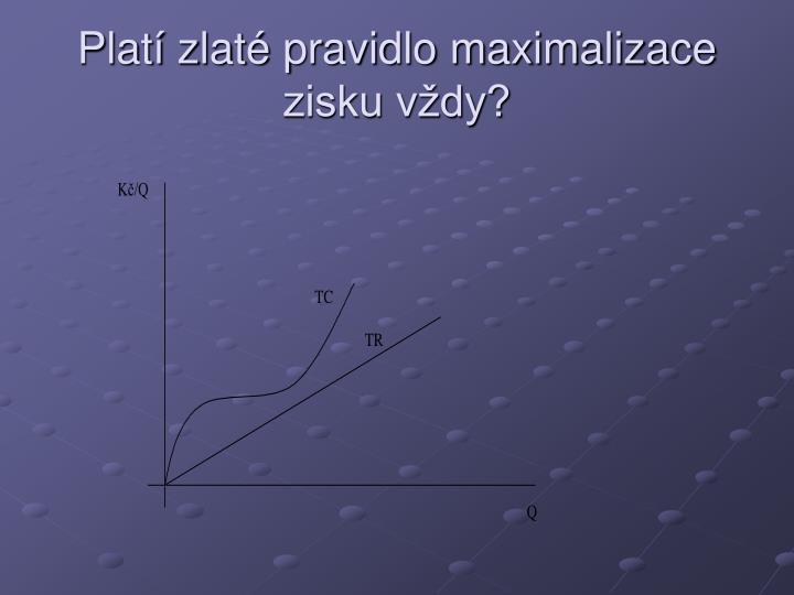 Platí zlaté pravidlo maximalizace zisku vždy?