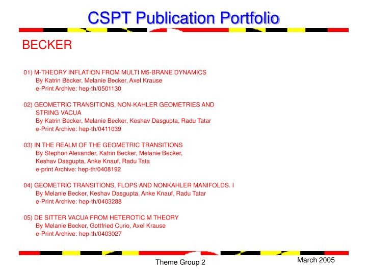 CSPT Publication Portfolio