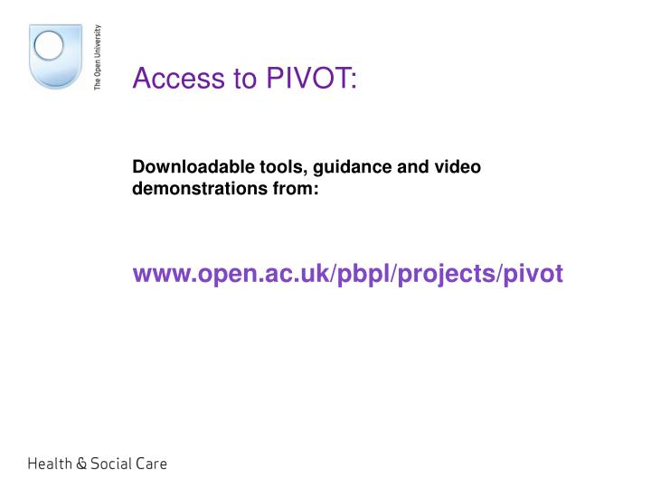 Access to PIVOT:
