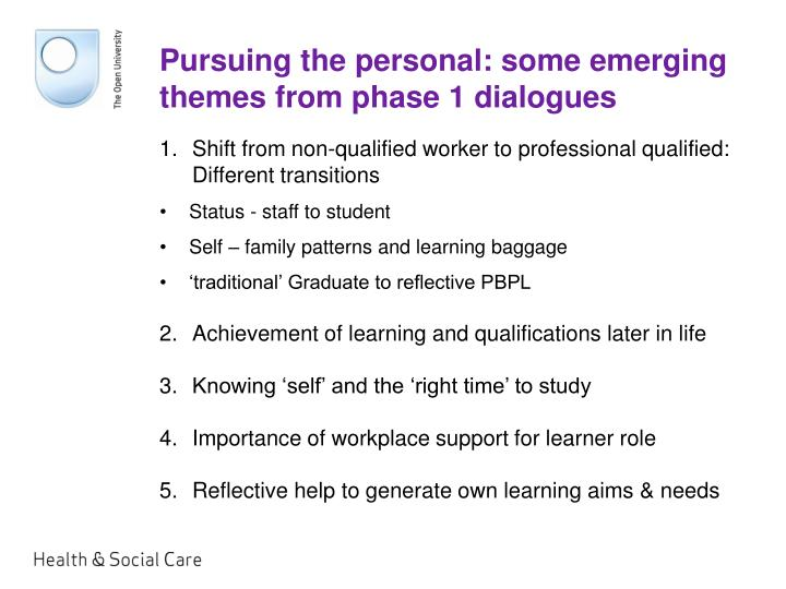 Pursuing the personal: some emerging themes from phase 1 dialogues