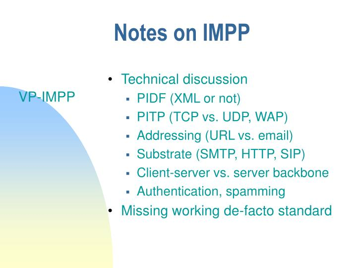 Notes on IMPP