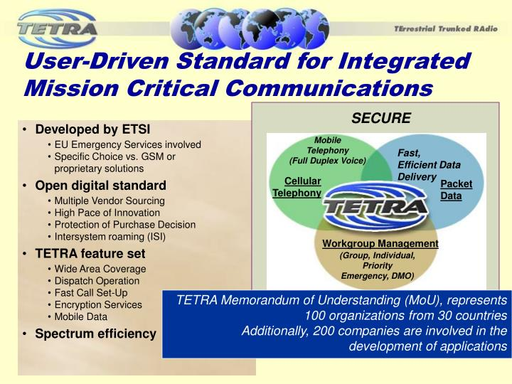 User-Driven Standard for Integrated Mission Critical Communications