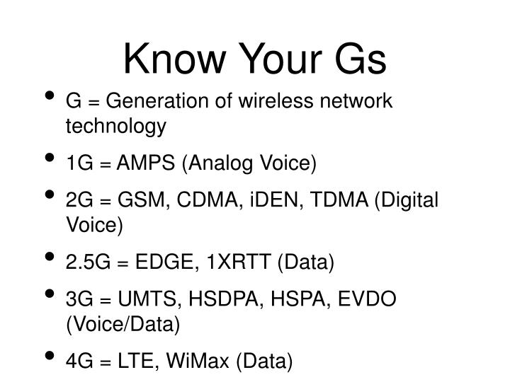 Know Your Gs