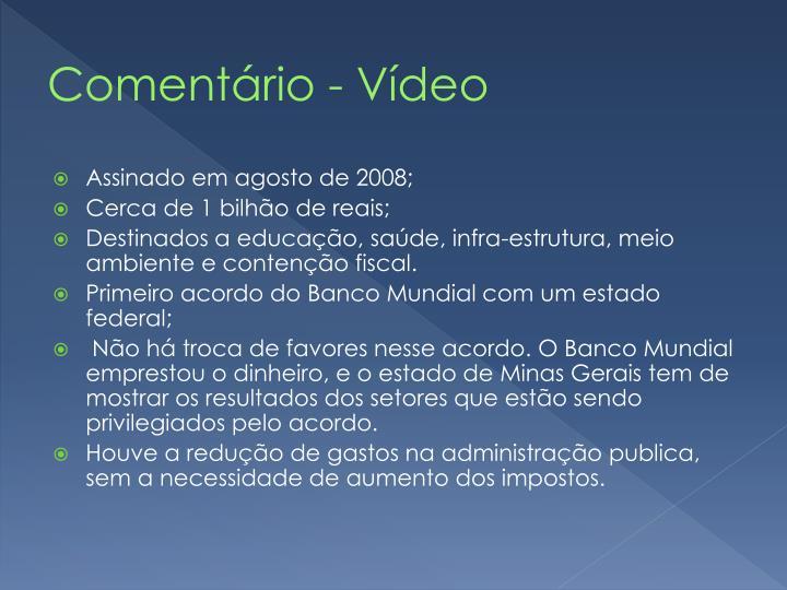 Comentário - Vídeo
