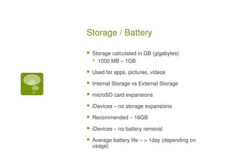 Storage / Battery