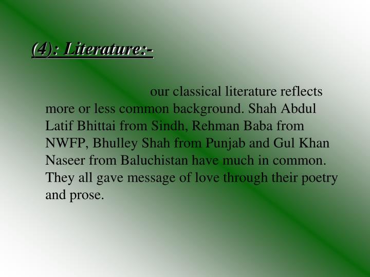 (4): Literature:-