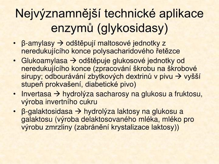 Nejvýznamnější technické aplikace enzymů (glykosidasy)