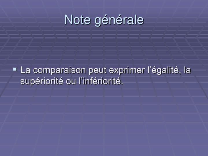 Note générale
