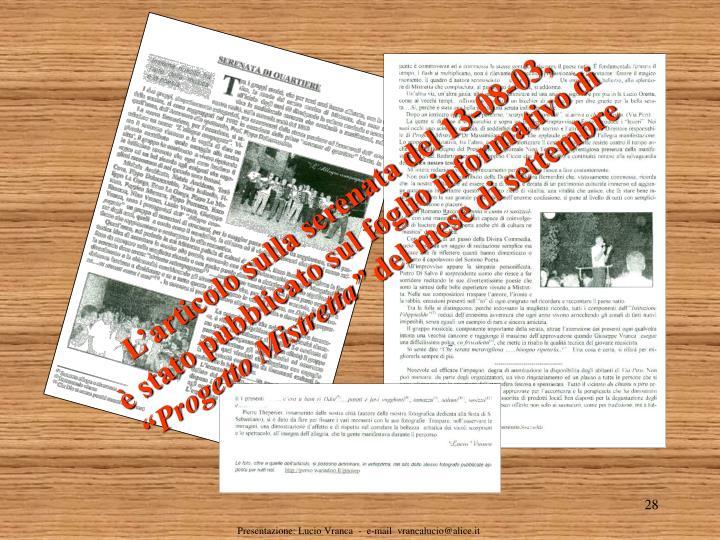 L'articolo sulla serenata del 13-08-03,