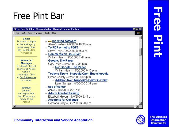 Free Pint Bar