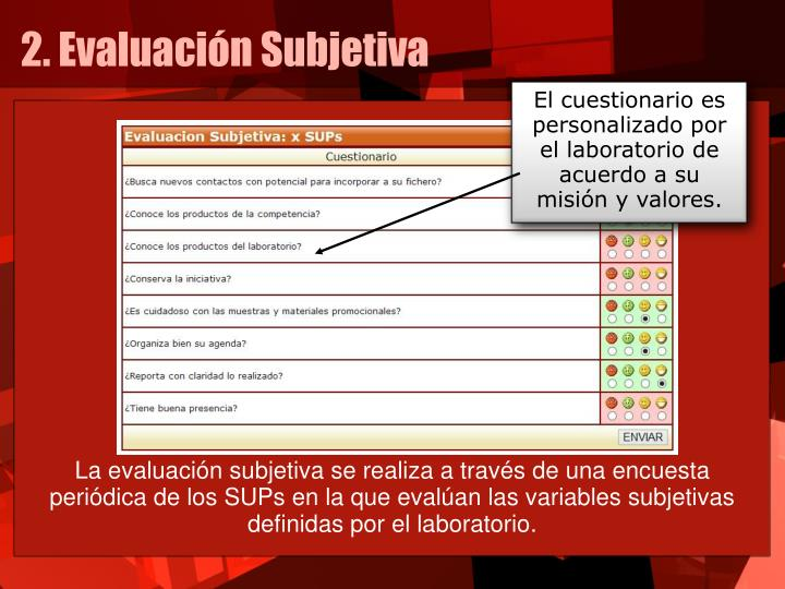 El cuestionario es personalizado por el laboratorio de acuerdo a su misión y valores.