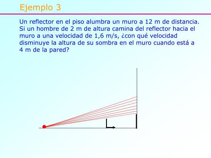 Un reflector en el piso alumbra un muro a 12 m de distancia. Si un hombre de 2 m de altura camina del reflector hacia el muro a una velocidad de 1,6 m/s, ¿con qué velocidad disminuye la altura de su sombra en el muro cuando está a 4 m de la pared?