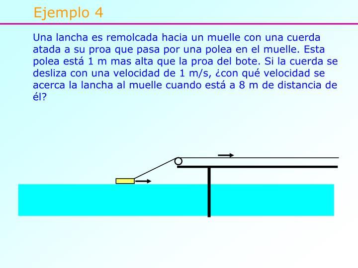 Una lancha es remolcada hacia un muelle con una cuerda atada a su proa que pasa por una polea en el muelle. Esta polea está 1 m mas alta que la proa del bote. Si la cuerda se desliza con una velocidad de 1 m/s, ¿con qué velocidad se acerca la lancha al muelle cuando está a 8 m de distancia de él?