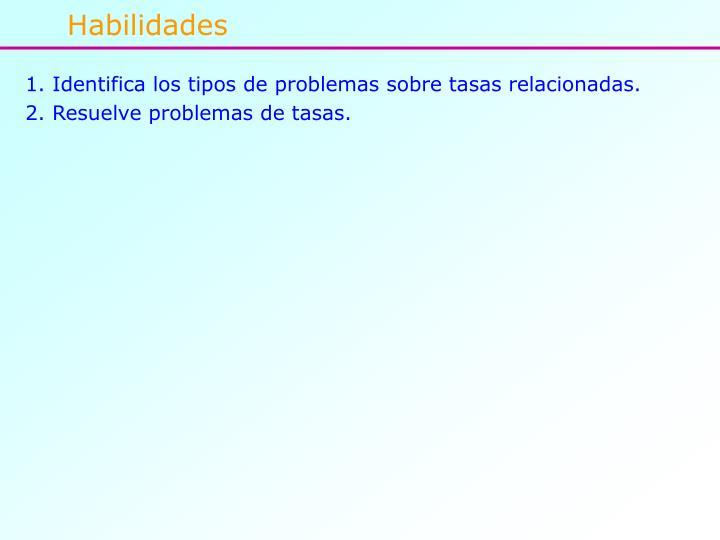 Identifica los tipos de problemas sobre tasas relacionadas.