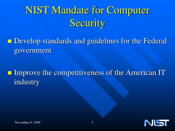 NIST Mandate for Computer Security