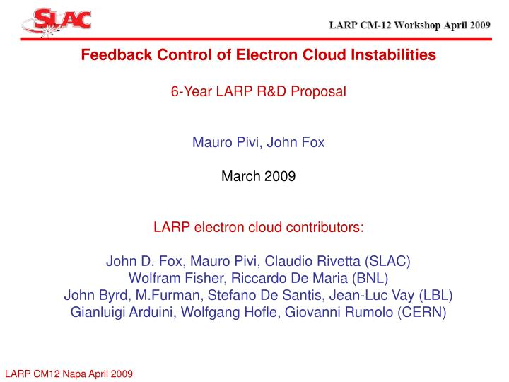 Feedback Control of Electron Cloud Instabilities