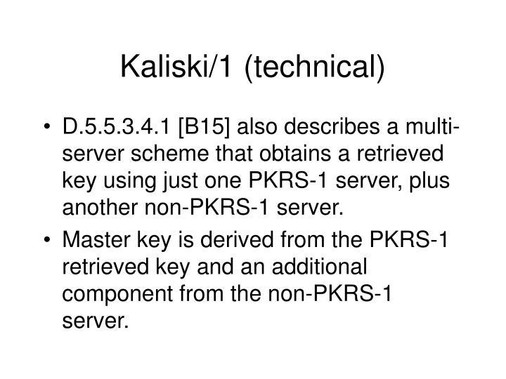 Kaliski/1 (technical)