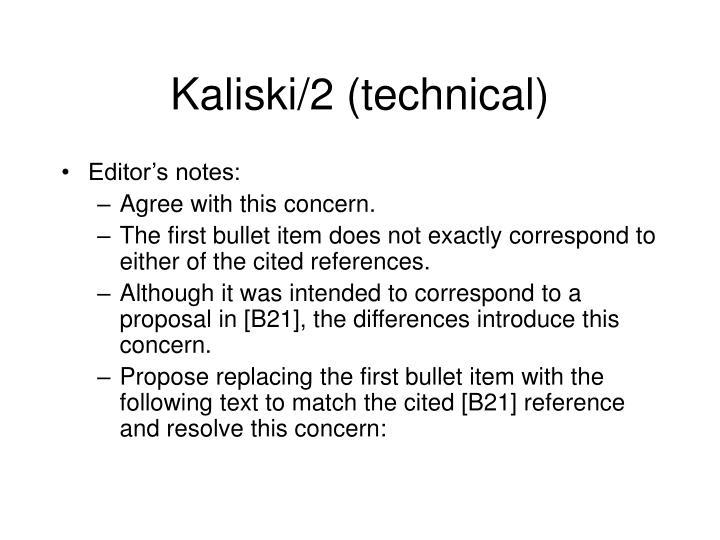 Kaliski/2 (technical)