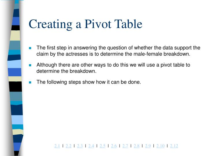 Creating a Pivot Table