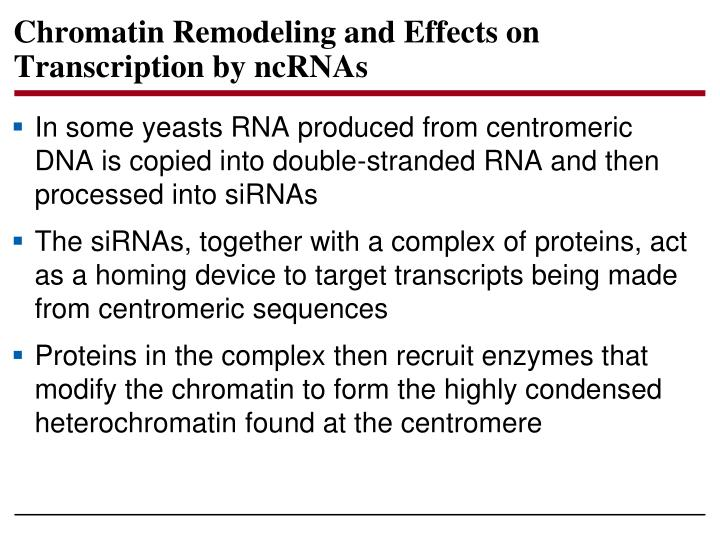 Chromatin Remodeling and Effects on Transcription by ncRNAs