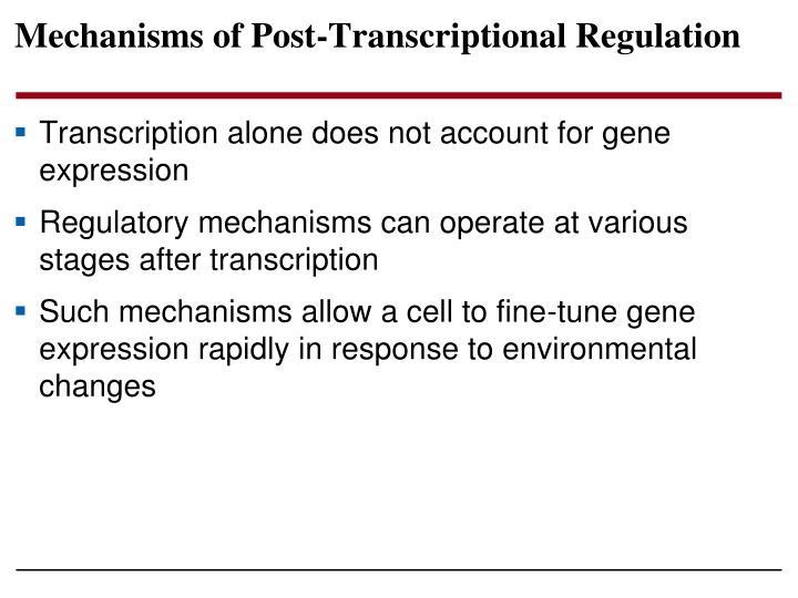 Mechanisms of Post-Transcriptional Regulation