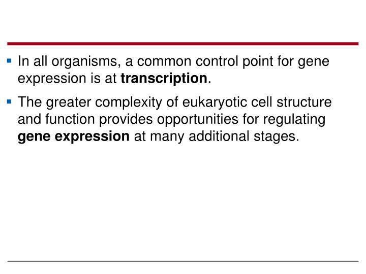 In all organisms, a common control point for gene expression is at