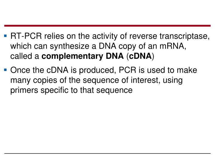 RT-PCR relies on the activity of reverse transcriptase, which can synthesize a DNA copy of an mRNA, called a
