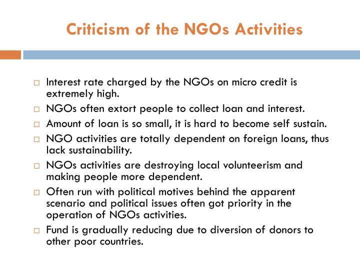 Criticism of the NGOs Activities