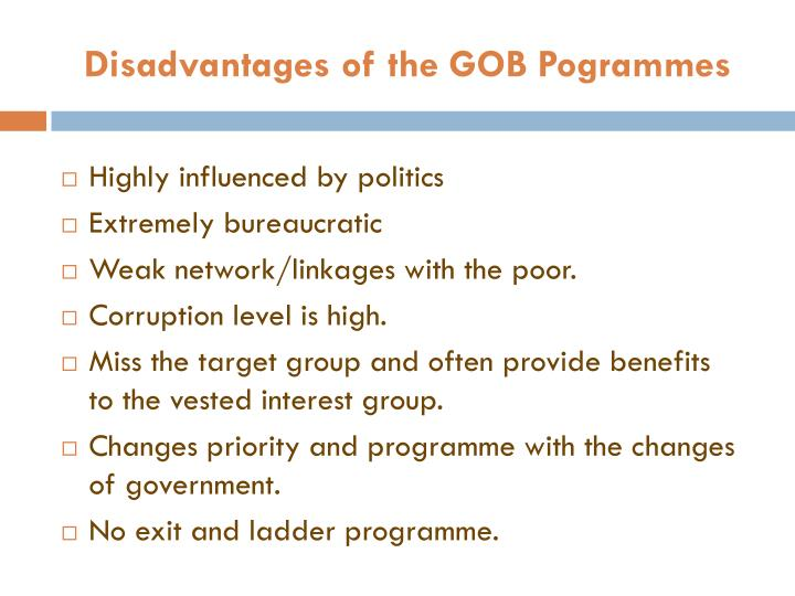 Disadvantages of the GOB Pogrammes