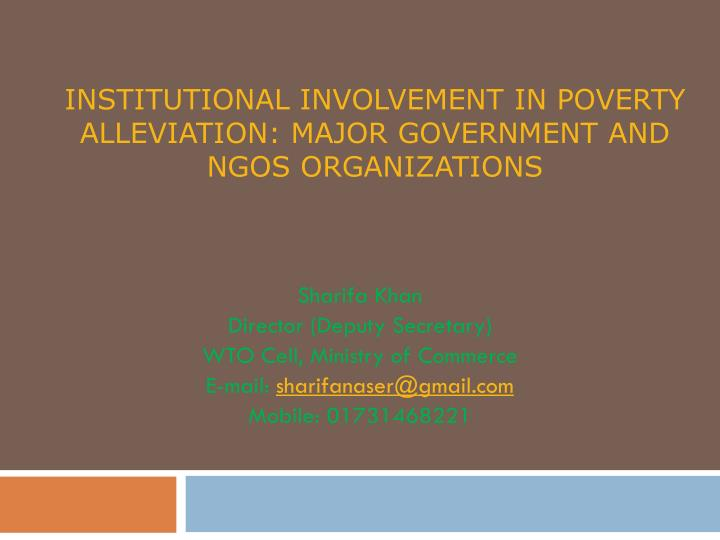 Institutional involvement in poverty alleviation major government and ngos organizations