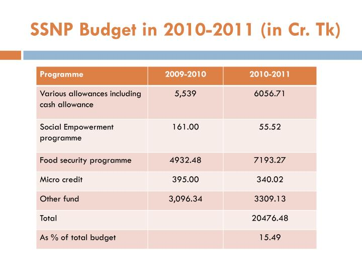 SSNP Budget in 2010-2011 (in Cr. Tk)