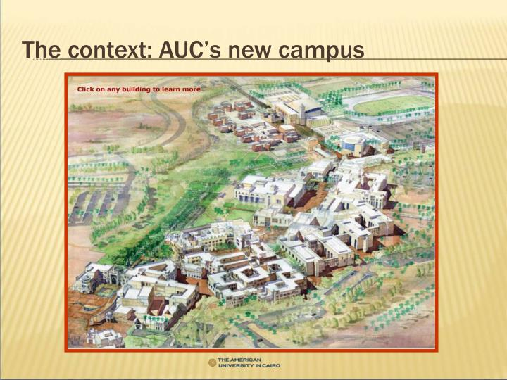 The context auc s new campus