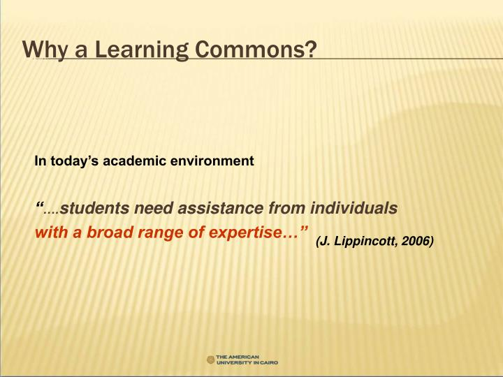 Why a Learning Commons?