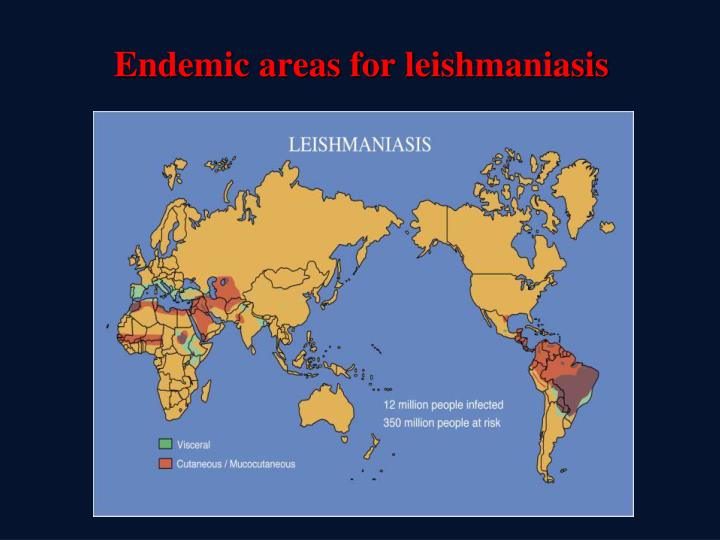 Endemic areas for leishmaniasis