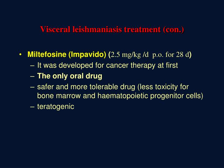 Visceral leishmaniasis treatment (con.)