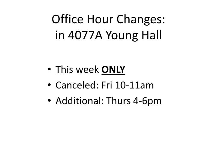 Office hour changes in 4077a young hall