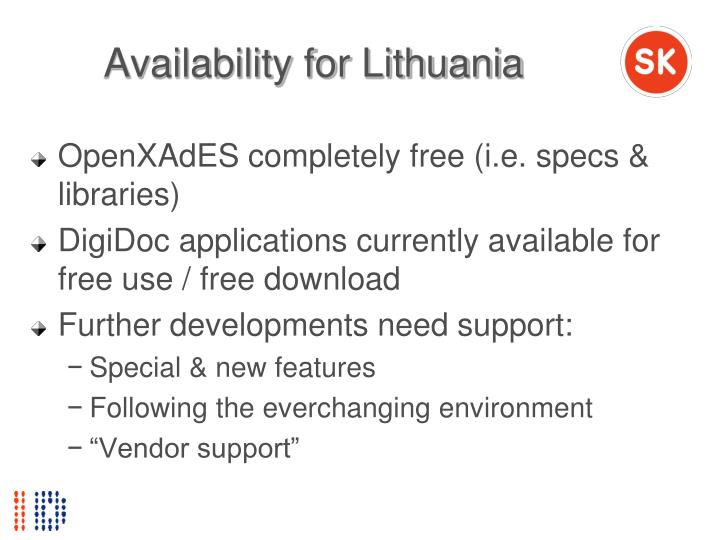 Availability for Lithuania